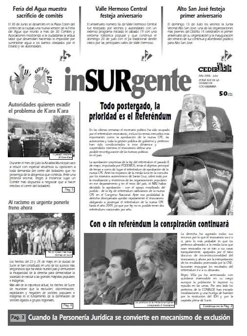 inSURgente, julio 2008