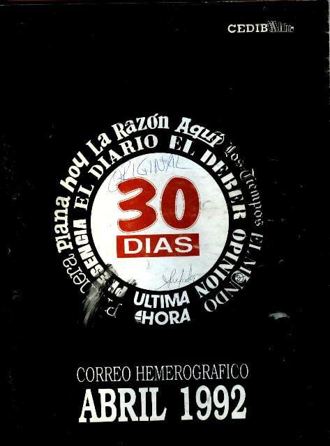 30 Días. Correo hemerográfico (Abril 1992)