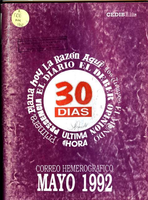30 Días. Correo hemerográfico (Mayo 1992)