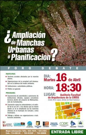 Foro debate: ¿Ampliación de Manchas Urbanas o Planificación?