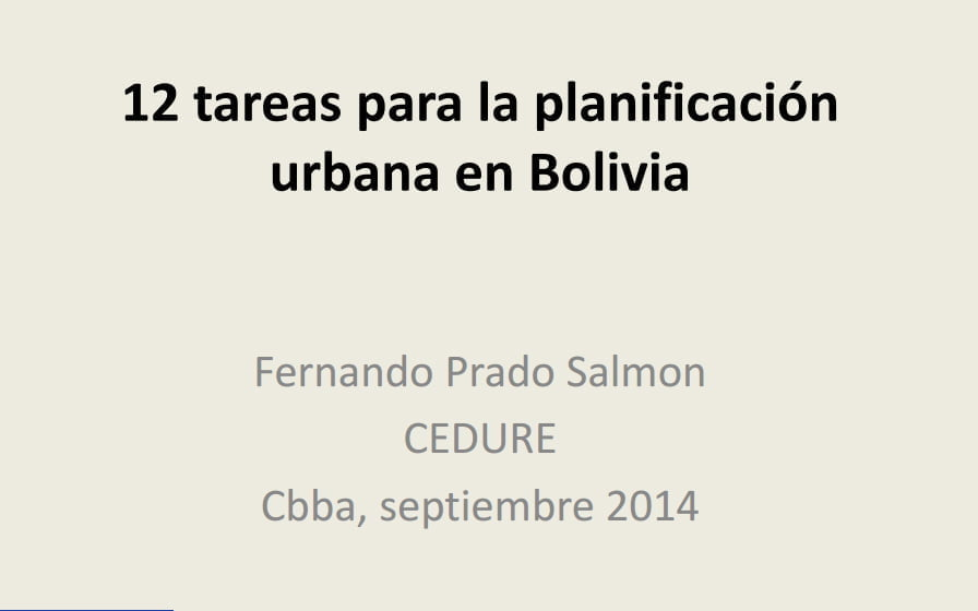 12 tareas para la planificación urbana en Bolivia