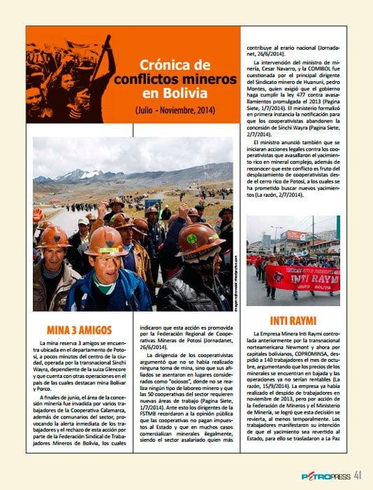 Crónica de conflictos mineros en Bolivia (Julio – Noviembre, 2014), Petropress 34, 3.15