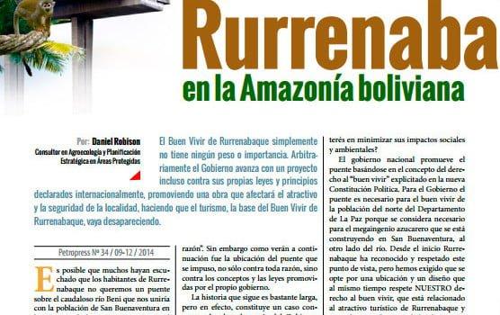 """La aplicación del """"buen vivir"""" en Bolivia: La imposición del puente de Rurenabaque en la Amazonía Boliviana (Petropress 34, 3.15)"""