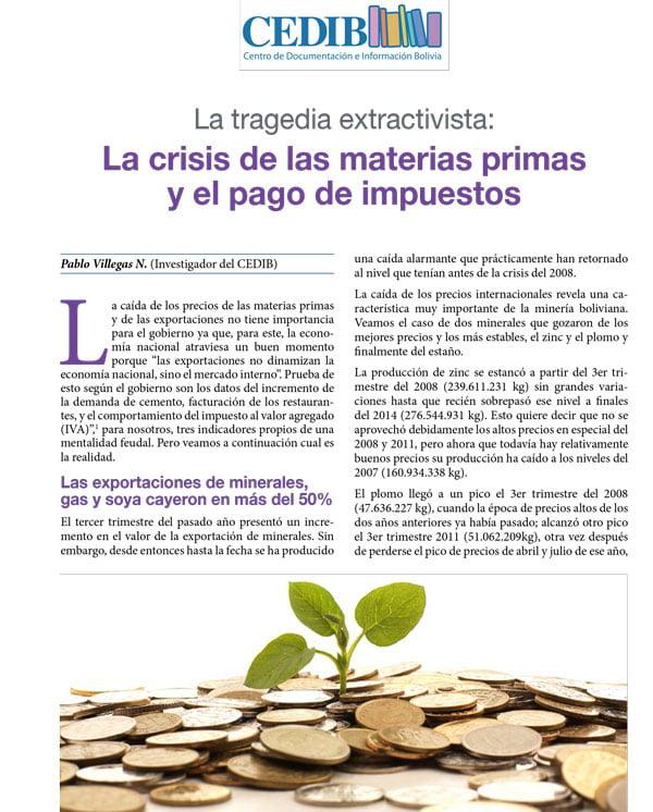 La tragedia extractivista: La crisis de las materias primas y el pago de impuestos