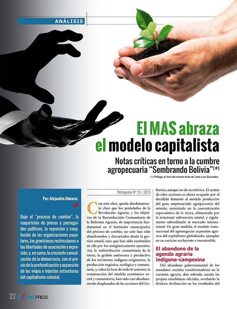 El MAS abraza el modelo capitalista (Petropress 35, 3.16)
