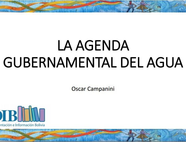 La agenda gubernamental del agua (Oscar Campanini, CEDIB)