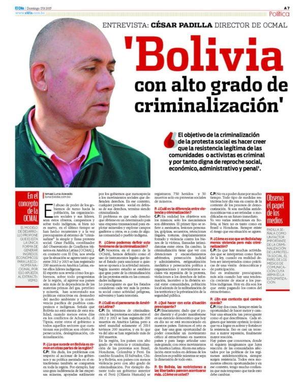 'Bolivia con alto grado de criminalización' (El Día, 17.9.17)