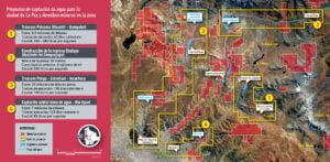 Mapa proyectos de captación de agua en la ciudad de La Paz y derechos mineros en la zona