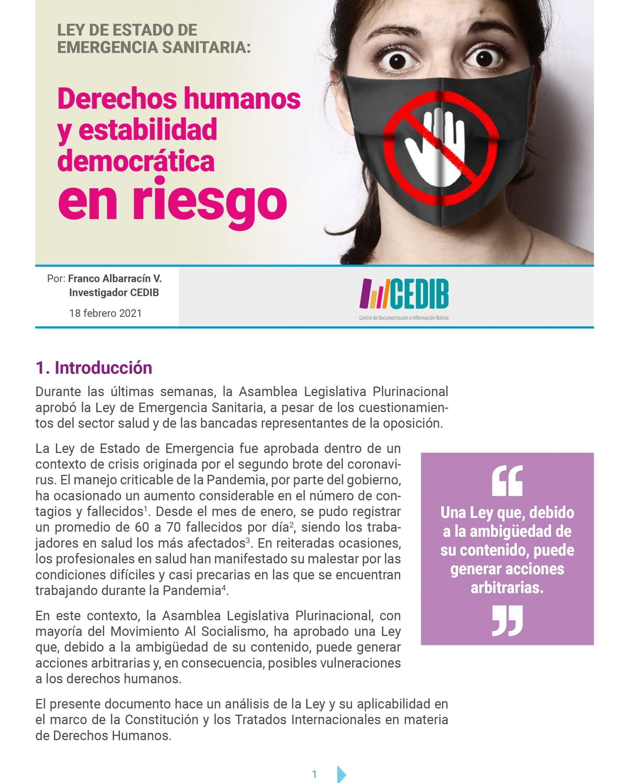 Ley de Estado de Emergencia Sanitaria: Derechos humanos y estabilidad democrática en riesgo