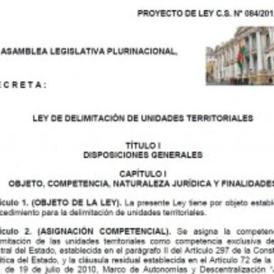 * Proyecto de ley de Delimitación de Unidades Territoriales (aprobado en Diputados)