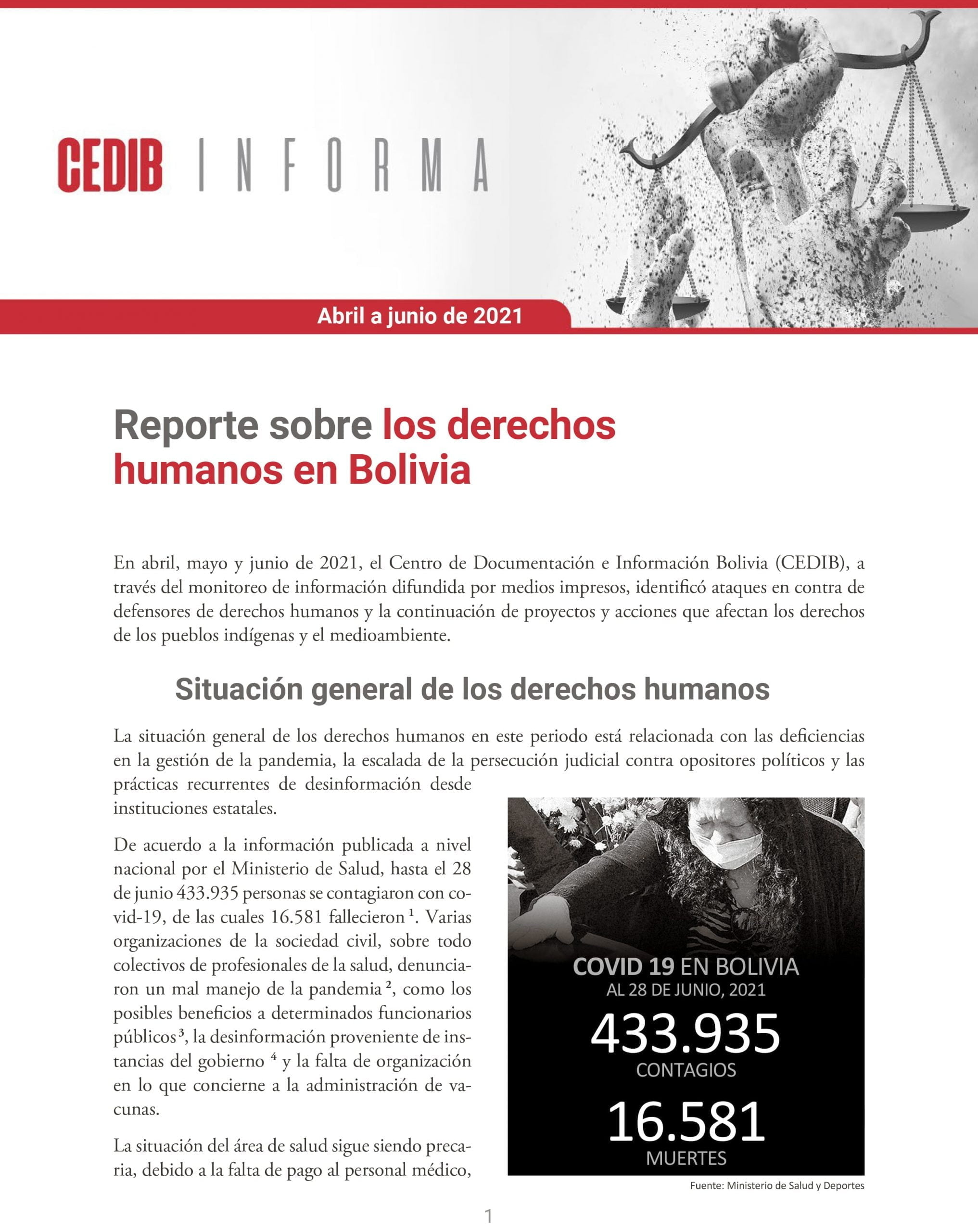 CEDIB Informa: Reporte sobre los derechos humanos en Bolivia (abril a junio 2021)