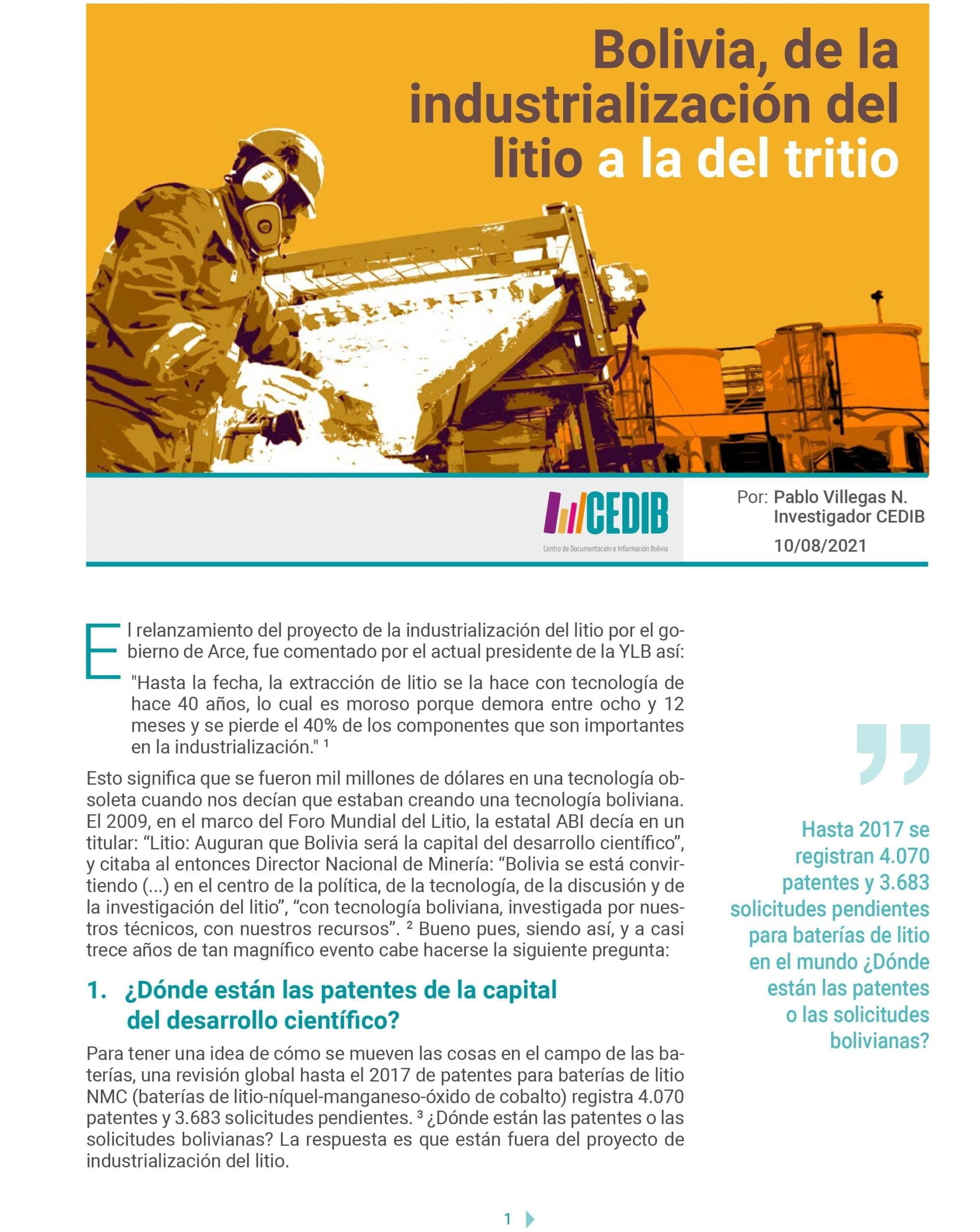 Bolivia, de la industrialización del litio a la del tritio
