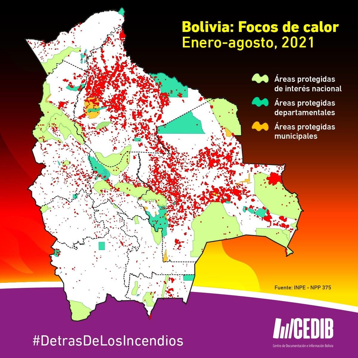 Focos de calor incendios en Bolivia 2021